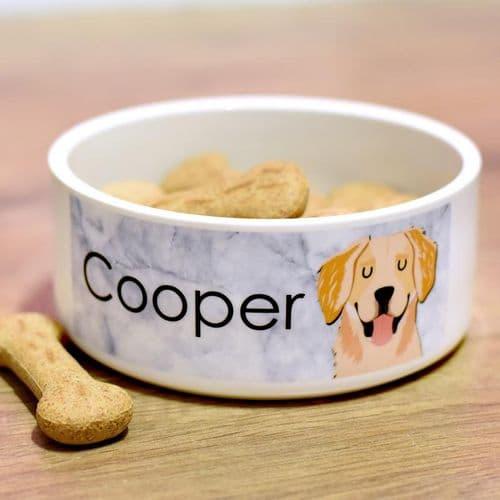 Ceramic Personalised Dog Bowl - Marble