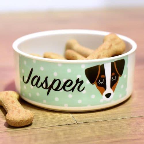 Ceramic Personalised Dog Bowl - Polka Dot