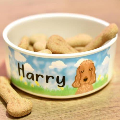 Ceramic Personalised Dog Bowl - Spring