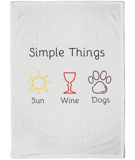 Cotton Dog Tea Towel Sun Wine Dogs