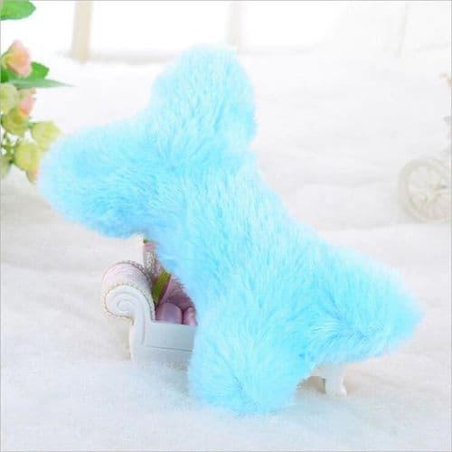 Fluffy Puppy Bone Toy - Blue