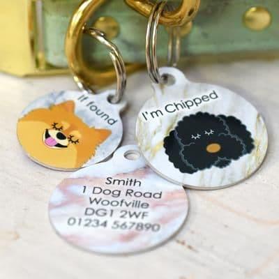 Personalised Dog ID Tag - Metallic Marble