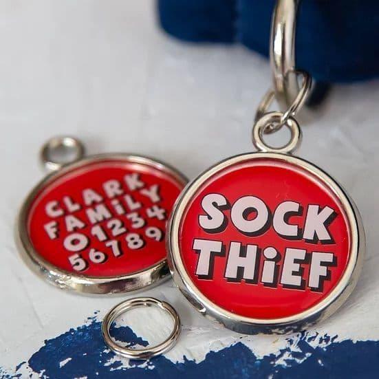 Personalised Dog ID Tag - Sock Thief