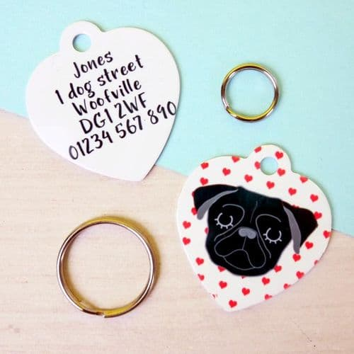 Personalised Dog ID Tag - Valentines Heart - Choose Your Breed
