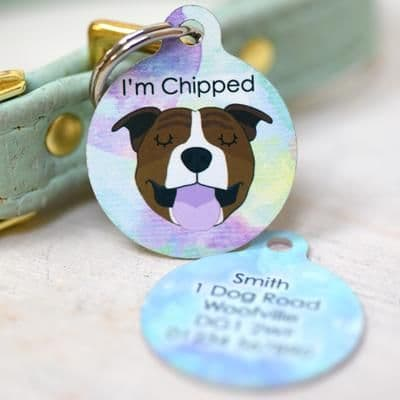 Personalised Dog ID Tag - Watercolour