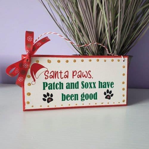 Santa Paws Wall Sign - Personalised