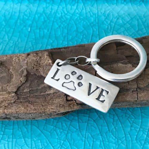 Silver Paw Print Love Keyring
