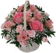 BASKET WITH PINK FLOWERS