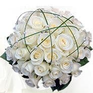 PURE WHITE ROSE ROUND BOUQUET